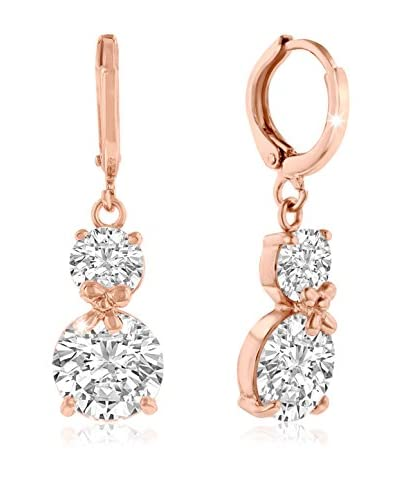 Adoriana Rose Gold-Plated Double Swarovski Elements Hoop Earrings