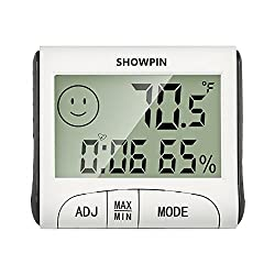 Showpin Indoor Temperature Hygrometer with Clock, Alarm Function, Large LCD Display and Numbers (Battery Included)