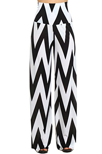 Black and white plus size palazzo pants