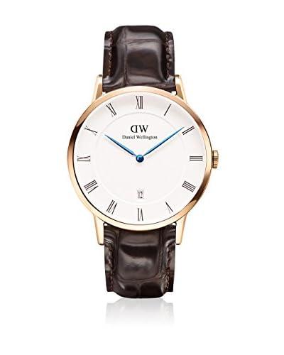 Daniel Wellington Reloj con movimiento cuarzo japonés Unisex Dapper York blanco/Marrón oscuro 38 mm
