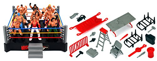 VT Mini Nonstop Action Wrestling Toy Figure Play Set w/ Ring, 12 Toy Figures, Accessories (Wwe Figures Cheap compare prices)