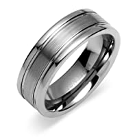 Double Groove Brush Finish 8mm Comfort Fit Mens Tungsten Carbide Wedding Band Ring Size 11