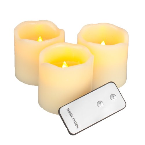 Lily's HomeTM Everlasting Flameless Wax Candles with Remote Control, Ivory Pillar Candles, Set of 3, 3 by 3-Inch