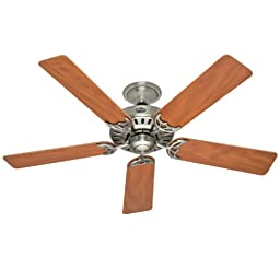 Hunter 25518 Summer Breeze 52-Inch 5-Blade Ceiling Fan, Brushed Nickel with Chestnut/Maple Blades