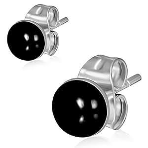 Urban Male Stainless Steel & Black Resin Round 4mm Stud Earrings For Men