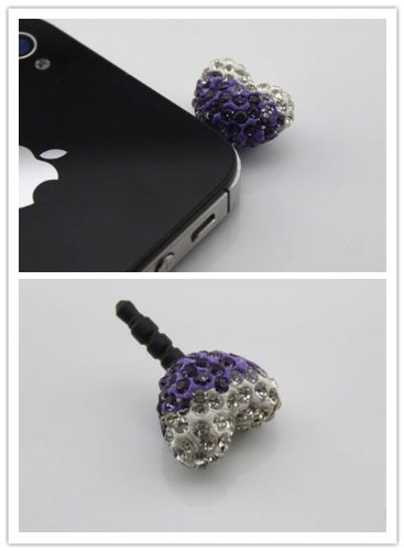 Nine States Crystal Bling Rhinestone Heart Shape Ball 3.5Mm Headphone Jack Anti Dust Plug Ear Cap For Iphone 5,4,4S,Ipad ,Ipod Touch ,Samsung Galaxy S3 S4 Note 2 Note2,Htc,Blackberry And Other Cellphone White + Purple