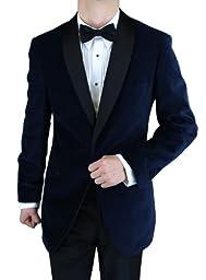 Bianco B Men\'s One Button Shawl Lapel Blue Velvet Tuxedo (42 Regular, Blue)