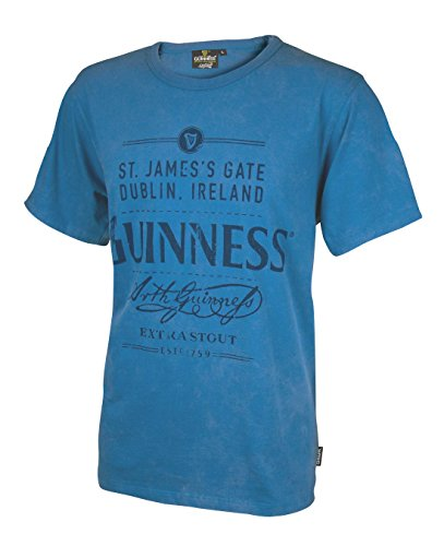 Guinness Men's Blue Cotton St. James's Gate Dublin, Ireland Short Sleeve T-Shirt (Guinness Beer Tshirt compare prices)