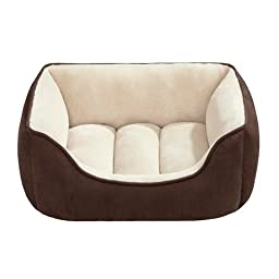 Soft Touch Faux Suede Reversible Rectangular Cuddler, 24 by 34-Inch, Brown