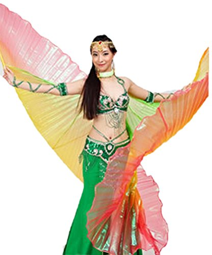 Dreamspell party colorful belly dance isis big wings(Green,Yellow,Red mixed).