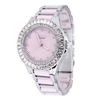 Ufingo-Korean Fashion Cute Nice Beautiful Ceramic Quartz Wrist Watch For Women/Ladies/Girls-Pink