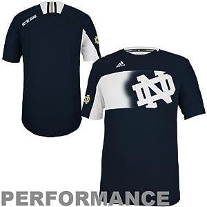 NCAA adidas Notre Dame Fighting Irish Players Crew Performance T-Shirt - Navy Blue by adidas