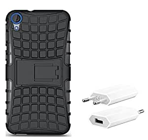 Chevron Tough Hybrid Armor Back Cover Case with Kickstand for hTC Desire 820Q with USB Mobile Wall Charger (Black)