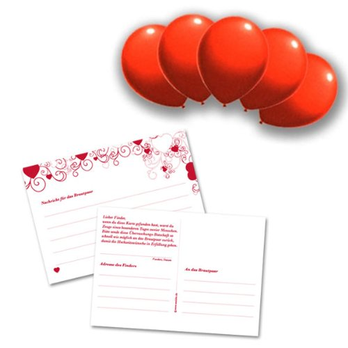 ballon set liebe 100 stk rote luftballons ballonflugkarten und schnellverschl sse f r einen. Black Bedroom Furniture Sets. Home Design Ideas