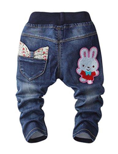 Tkria 2016 Nuovo Stile Coniglio Stampato Ricamato Bambina Ragazze Slim Taglio Normale Vita Elastica Denim Pantaloni ,Jeans per età 1-6