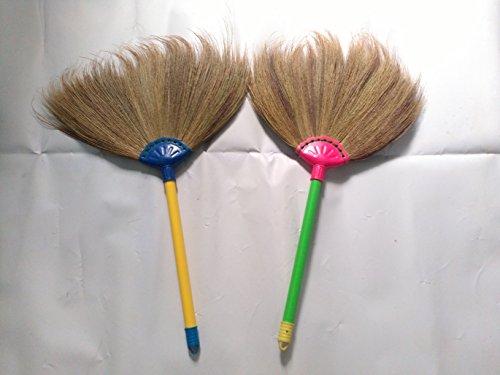 Thai Broom Handmad Straw Grass Broom Soft Handle Plastics of 11 inch 2 Pcs (Power Broom Stihl compare prices)
