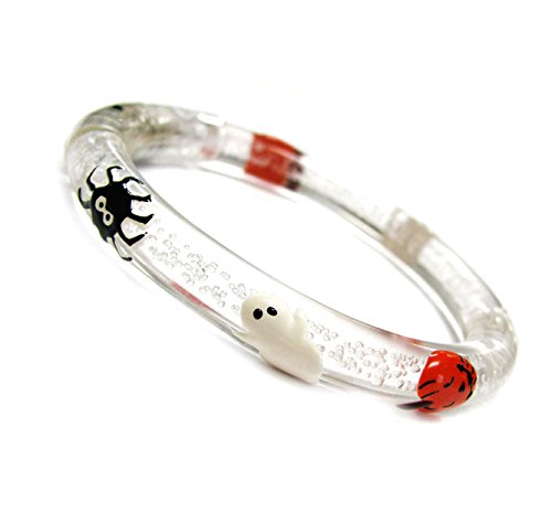 Linpeng Hand Painted Pumpkins, Spiders, Web & Ghost Acrylic Flashing Rave Glow Bracelet Bangle_Br-1146