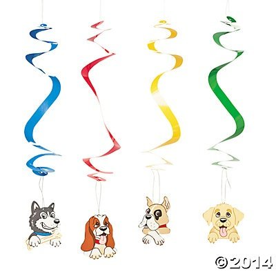 Birthday Puppy Dog Hanging Swirls - 12 pcs