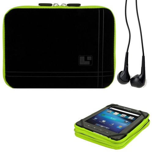 8 Inch Tablet Case Toxic Green Neoprene Bubble Padded Zippered Sleeve (Fits the Barnes and Noble Nook Color, Simple Touch, Tablet, and Touch) + Black Barnes and Noble Nook Color, Simple Touch, Tablet, and Touch Compatible Stereo Ear Buds