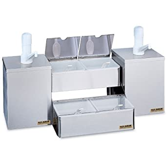 """San Jamar P9825 Stainless Steel Pump and Condiment Tray Center, 26-1/8"""" Width x 14-3/4"""" Height x 12"""" Depth"""
