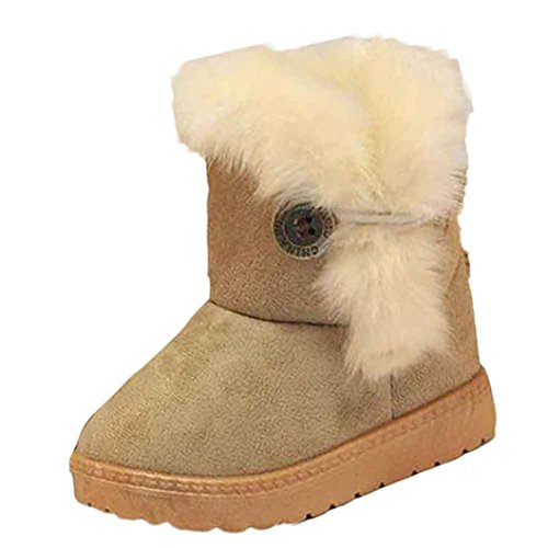 FAPIZI ❈ Boots ❈ Fashion Winter Baby Girls Child Snow Boots Warm Shoes (21, Khaki)
