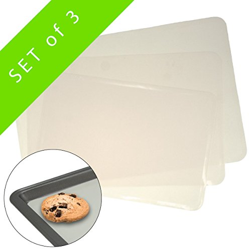 3 Silicone Baking Pan Liners Mats Cookie Sheet Nonstick 400F Oven-Safe