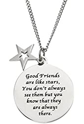Good Friends Are Like Stars.... Stainless Steel Disc and Star Friendship Pendant Necklace
