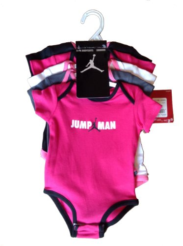 Nike Jordan Infant New Born Baby Girl Lap Shoulder Bodysuit 5 PCS with Different Color and
