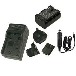 Dot.Foto JVC BN-VG107 Batterie et Chargeur de batterie rapide - comprend l'adaptateur pour automobile et les prises EU et GB, USA [Pour la compatibilité voir la description]