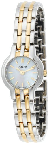 buy Pulsar Women'S Pega04 Dress Two-Tone Stainless Steel Mother Of Pearl Watch