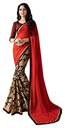 Aishwarya Women's Georgette Saree (Red and Brown)