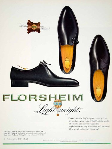 1963 Ad Vintage Florsheim Leather Shoe Pacer Mad Men Fashion 60s Style Footwear - Original Print Ad