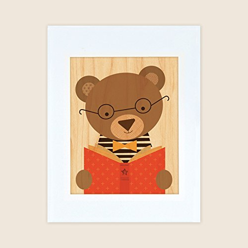 Petit Collage Unframed Print on WoodWall Decor, Story Bear, Large