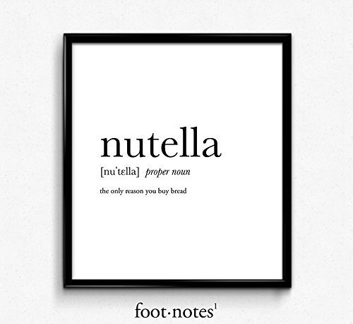 Nutella definition, dictionary art print, dictionary art, office decor, minimalist poster, funny definition print, definition poster, quotes