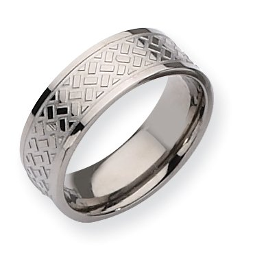 Titanium Weave Design 8mm Polished Band, Size 11.5