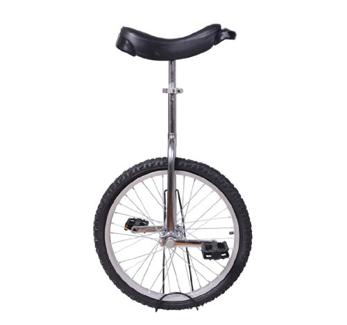 "Check Out This Aosom Deluxe 20"" Wheel Unicycle - Chrome Plated Steel Frame w/ Stand"