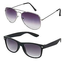 Rhodopsin UV Protected Purple Grey Aviator and Black Wayfarer Sunglasses for Women (Combo_Purple_Grey_Aviator_Black_Way)
