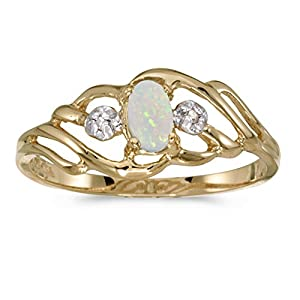 10k Yellow Gold Oval Opal And Diamond Ring (Size 9)