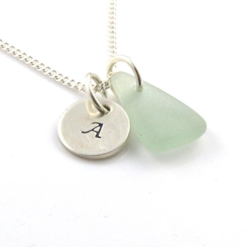 personalised-925-sterling-silver-disc-and-sea-glass-necklace