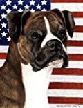 Boxer Brindle Uncropped by Tamara Burnett Patriotic II Garden Dog Breed Flag 12'' x 17