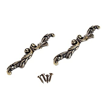 Dophee 10Pcs Antique Brass Drawer Pull Handle Cabinet Box Mini Jewelry Chest Decoration - Large
