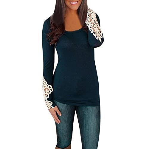 ZANZEA Women's Sexy Casual Embroidery Lace Long Sleeve Crew Neck Tops Blouse T-Shirt