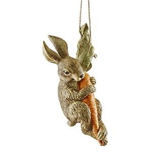 Design Toscano The Carrot Caper Swinging Bunny Rabbit Statue, Multicolored
