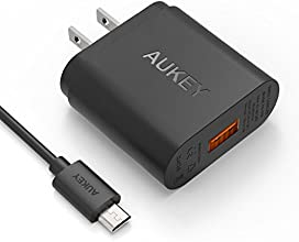 [Qualcomm Certified] Aukey Quick Charge 2.0 18W USB Turbo Wall Charger Fast Charger for Samsung Galaxy S6, S6 Edge and more (Included an 20AWG 3.3ft Micro USB Cable) -Black