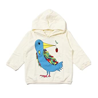 "Mademoiselle Papillon (""Miss Butterfly"") - Pull-Over Hoodie Sweatshirt - Bird with Berry"