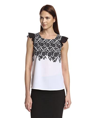 kensie Women's Lace Print Shirt