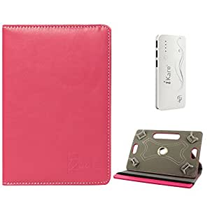 DMG Portable Foldable Stand Holder Cover Case for Digiflip Pro Xt 712 Tablet (Pink) + 10000 mAh Three USB Port Power Bank