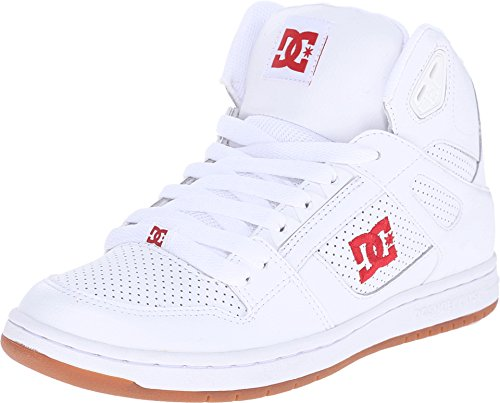 DC Women's Rebound High Skate Shoe, White/Red, 11 M US
