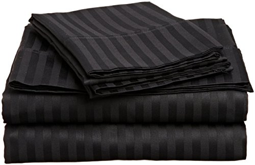 Italian 400 Thread Count Stripe 4Pc Twin Xl Sheet Set (Black) By Bed&Linen front-915591