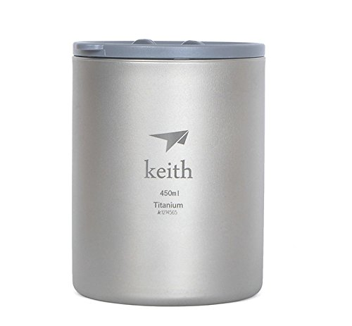 Keith 450ml Titanium Cup Double-wall Mug Camping Cup Only 152g